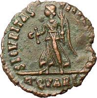VALENS 367AD Rome R.QVARTA Very rare Ancient Roman Coin Victory Nike  i29282