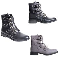 Womens Ladies Biker Boots Ankle Boot Shoes Studded Festival Boots Side Zip Size