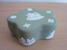 Wedgwood Green Jasperware Dresser Jar / Jewelry Box