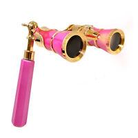3 x 25  Opera Theater Binocular Glasses Hot Pink Perl with Golden Trim