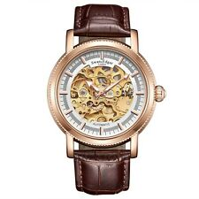 Swan & Edgar Skeleton Automatic Luxury Mens Watch - In Rose or Steel