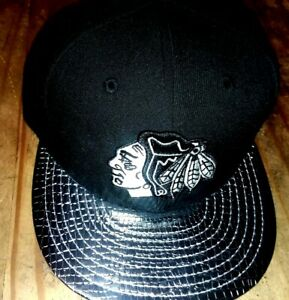 Chicago Blackhawks Silver Patent Leather Bill New Era Fitted Hat TOEWS! KANE!