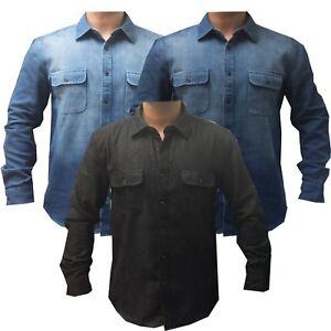 Mens Heavy Duty Denim Jeans Shirt Cotton Work Causal Flap Pocket Top Shirts New