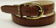 WOMEN TALBOTS BROWN GENUINE LEATHER LIZARD PRINT DRESS BUSINESS  BELT SIZE SMALL