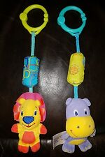 Lot of 2 Bright Starts Hanging Toy Car Seat Stroller Jumper Musical Carrier Gipo