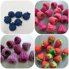 10 Erdbeeren Obst aus Stoff für Kaufladen Spielküche Landhaus Tilda Handarbeit