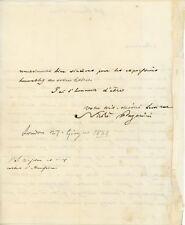 Nicolò PAGANINI (Violinist): Signed 1831 Letter, Declining an Invitation
