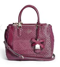 GUESS Marian G Logo Embossed Satchel Handbag Purse Quiletd Burgundy Bordeaux red