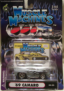 Muscle Machines '69 Camaro Grey w/Flames Diecast 1:64 Scale 02-22 NEW