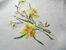 VINTAGE TABLECLOTH HAND EMBROIDERED ENGLISH SPRING FLOWERS