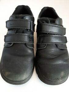 Boys Clarks Leather School Shoes 12F Hook and Loop Straps
