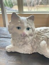 Hubley Cast Iron Persian Cat Doorstop with pink bow in Excellent Condition