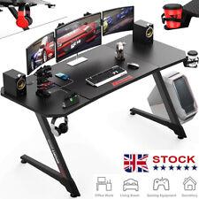 More details for ergonomic gaming desk, z-shaped office pc computer desk with cup holder uk