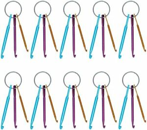 10 Pcs Crochet Hooks Keychain Set Aluminum Multicolor Crochet Needles