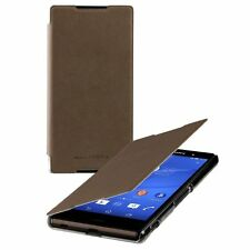 Genuine Roxfit Ultra Slimline Book Case Cover For Sony Xperia Z3+ Brown SMA5157M