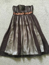 UK 10 BAYLIS & KNIGHT BROWN/CREAM STRAPLESS DRESS TOWIE/SUMMER/XMAS NEW RRP £80
