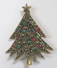 Vintage Jewelry Christmas Tree Signed Hollycraft Pin Brooch Rhinestones Goldtone
