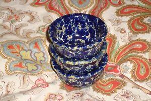 Bennington Potters Vermont Blue Agate Lot Of 3 Butter Crocks 1892