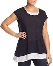 NEW $160 VINCE CAMUTO WOMEN'S BLUE LAYERED SCOOP-NECK LOOK TEE TOP PLUS SIZE 1X