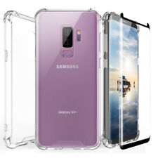 Tempered Glass Screen+TPU Clear Hard Phone Case For Galaxy S9/S8/Plus/Note 9