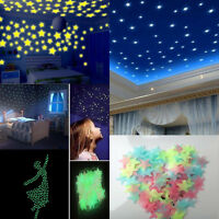 100pcs Glow In The Dark Star Plastic for Ceiling Wall Kid Bedroom Stickers Decor