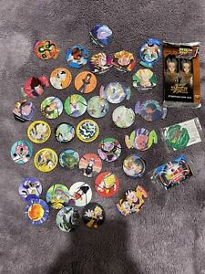 Dragon Ball Z Tazos Bulk Lot + First Ed SEALED Pack + HOLOGRAM VEGITO SEALED