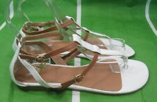 Womens Summer White/Tan Shoes Flat Sexy Sandals Size 9.5