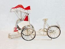 COLLECTABLE SILVER PLATED RICKSHAW BICYCLE SOUVENIR VIETNAM C 1960'S.