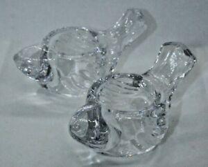 Vintage Glass Bird Shaped Pressed Embossed Heavy Votive Tea Light Holders Gift