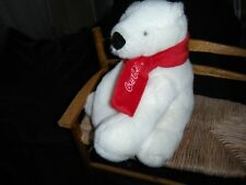 "Coca Cola 2010 Sitting White Polar Bear 8"" With Red Scarf Plush Stuffed Animal"