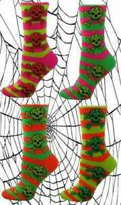 Neon Coloured Ankle Socks With Multi Coloured Designs Hearts Stripe (Size: 4-6)