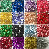 Quality Satin Ribbon Poinsettia Flowers 4cm Card Making Sewing Craft 17 Colours