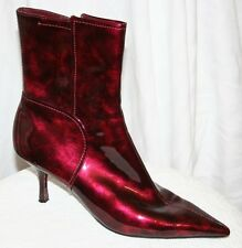 SHINY EYE CANDY ANKLE BOOTIE POINTY TOE HEELS sexy FAUX LEATHER cherry BOOTS 9.5