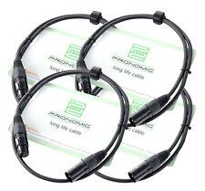 4x Set Profi DJ PA Mikrofon Kabel 1m Mic Patch Cable XLR Male Female schwarz