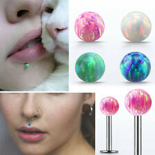 """16g Silver Straight Labret 4mm Colored Synthetic Opal Stud Piercing 1/4""""-5/16"""""""