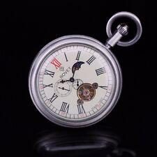 Steampunk Antique Silver Moon Phase Tourbillion Open Face Wind Up Pocket Watch