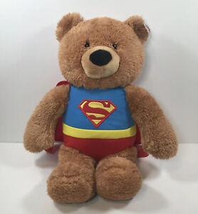 Gund Superman Bear DC Comics Plush Stuffed Animal Super Hero 18 in With Tag EUC