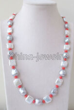 "22"" 13-17mm gray & white Reborn Keshi baroque Freshwater Pearl & coral necklace"