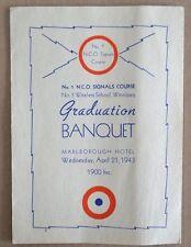 WWII NCO Signals Wireless Graduation Banquet Program Canada 1943 RCAF WW2