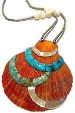 SANTO DOMINGO PUEBLO STYLE SPINY OYSTER SHELL TURQUOISE MOSAIC SILVER NECKLACE