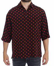 NWT $680 DOLCE & GABBANA Black Red Polka Silk Polo T-shirt Top EU54/ US44 /XXL