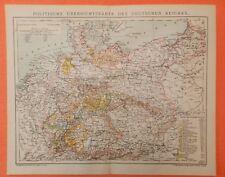 DEUTSCHES REICH Preussen Schlesien LANDKARTE 1895 Sachsen Bayern Württemberg DR