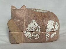 Soapstone Hippo Hippopotamus Hand Carved Stone Figurine Trinket Box Kenya Besmo