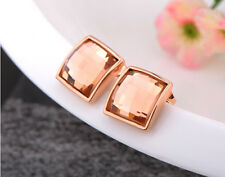 18K Rose Gold Gp  Austrian Crystal Jewelry Elegant Square Studs Earrings AC002