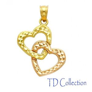 Mothers Day 14k Solid Two Tone Yellow & Rose Diamond Cut Double Heart Charm Pend