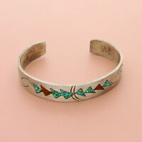 navajo sterling silver vintage turquoise coral inlay cuff bracelet 6.25in