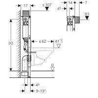 Geberit Duofix WC Element 98 cm mit Omega Spülkasten 111.030.00.1,Vorwandelement