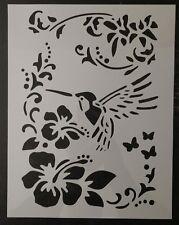 "Humming Bird Sablon Flower Flowers 8.5"" x 11"" Custom Stencil FAST FREE SHIPPING"