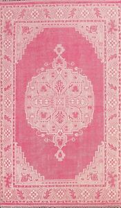 Vintage Style PINK Oushak Geometric Oriental Area Rug Wool Hand-knotted 6x9 ft