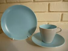 Poole Twintone Cup, Saucer & Tea Plate Dove Grey & Sky Blue Vintage LOT6